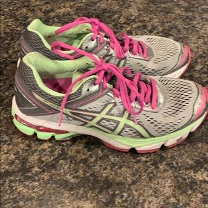 WMS ASIC GT-1000 Running Shoes - 7.5 Green/Pink